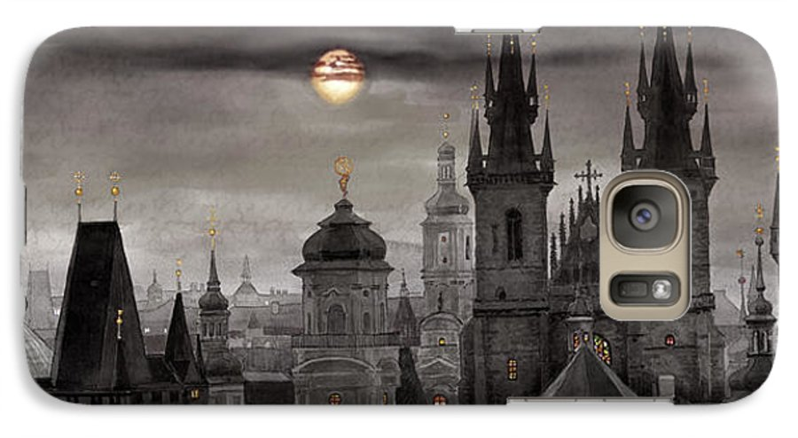 Cityscape Galaxy S7 Case featuring the painting Bw Prague City Of Hundres Spiers by Yuriy Shevchuk
