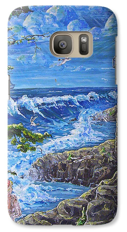 Seascape Galaxy S7 Case featuring the painting By The Sea by Phyllis Mae Richardson Fisher