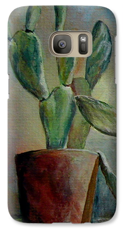 Flower Galaxy S7 Case featuring the painting Cactus 1 by Muriel Dolemieux