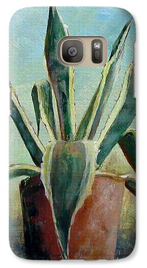 Flower Galaxy S7 Case featuring the painting Cactus 2 by Muriel Dolemieux