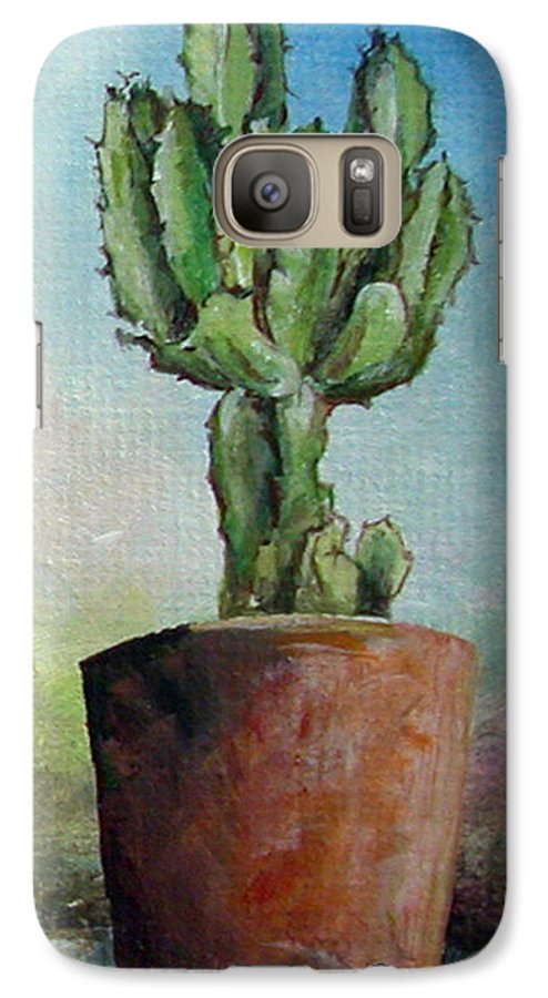 Flower Galaxy S7 Case featuring the painting Cactus 3 by Muriel Dolemieux