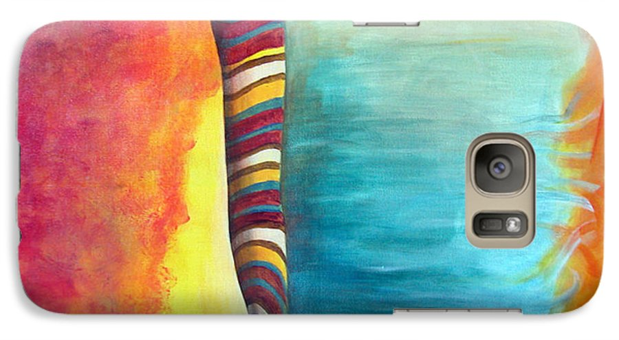 Abstract Galaxy S7 Case featuring the painting Cafe by Muriel Dolemieux
