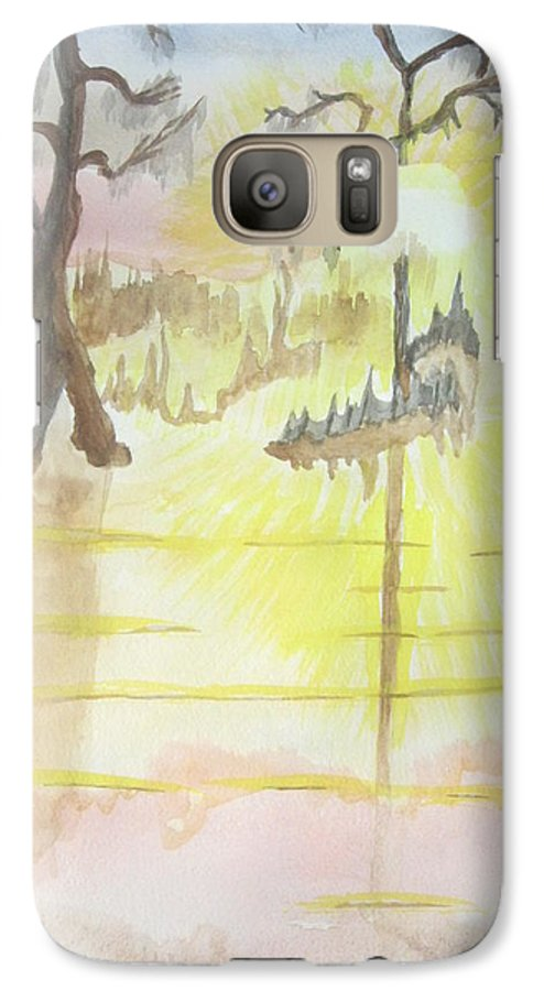 Landscape Watercolor Galaxy S7 Case featuring the painting Cajun Sunrise by Warren Thompson