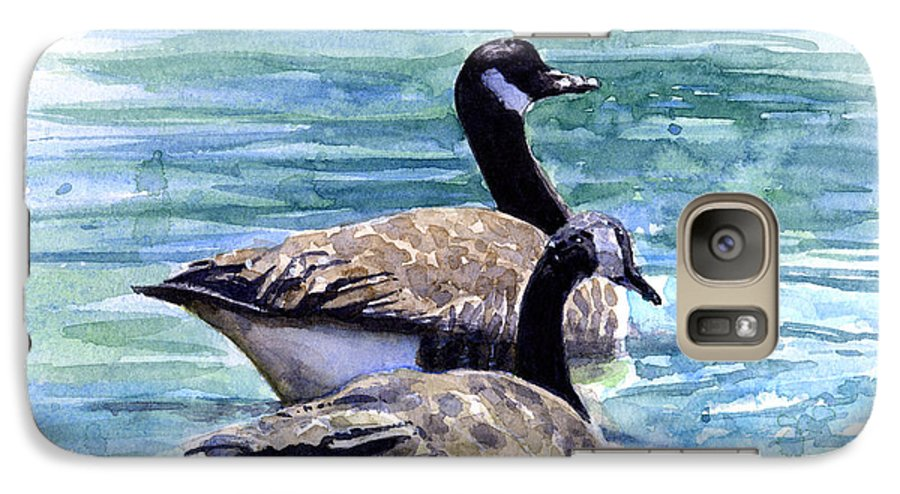 Canada Galaxy S7 Case featuring the painting Canada Geese by John D Benson