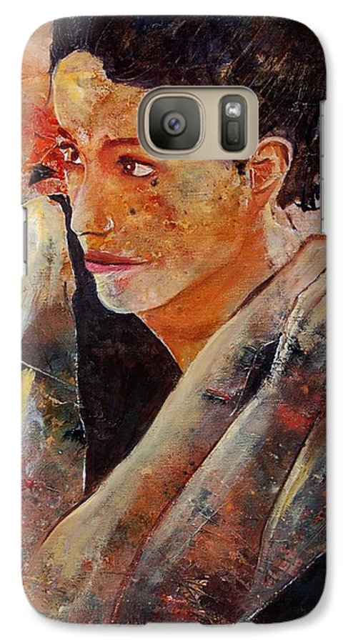 Figurative Galaxy S7 Case featuring the painting Candid Eyes by Pol Ledent