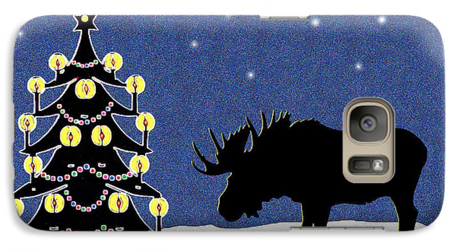 Moose Galaxy S7 Case featuring the digital art Candlelit Christmas Tree And Moose In The Snow by Nancy Mueller