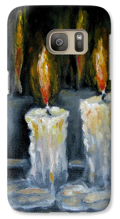 Candles Galaxy S7 Case featuring the painting Candles Oil Painting by Natalja Picugina