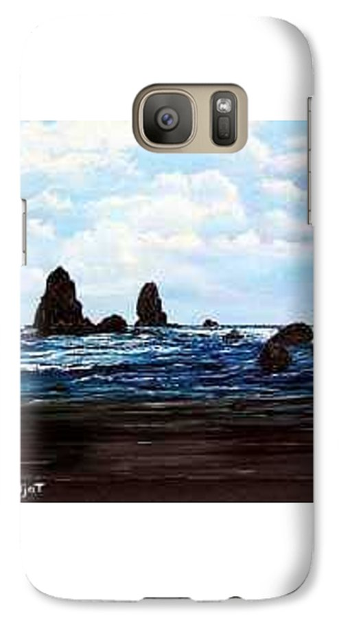 This Is Cannon Beach Oregon. This Painting Is Framed In A Lovely Gold Tone Frame. Galaxy S7 Case featuring the painting Cannon Beach by Darla Boljat