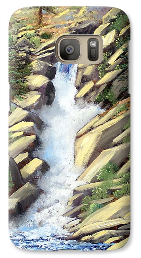 Landscape Galaxy S7 Case featuring the painting Canyon Falls by Frank Wilson