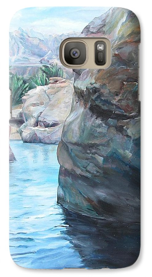 Landscape Galaxy S7 Case featuring the painting Canyon by Muriel Dolemieux