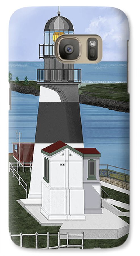 Lighthouse Galaxy S7 Case featuring the painting Cape Disappointment At Fort Canby Washington by Anne Norskog
