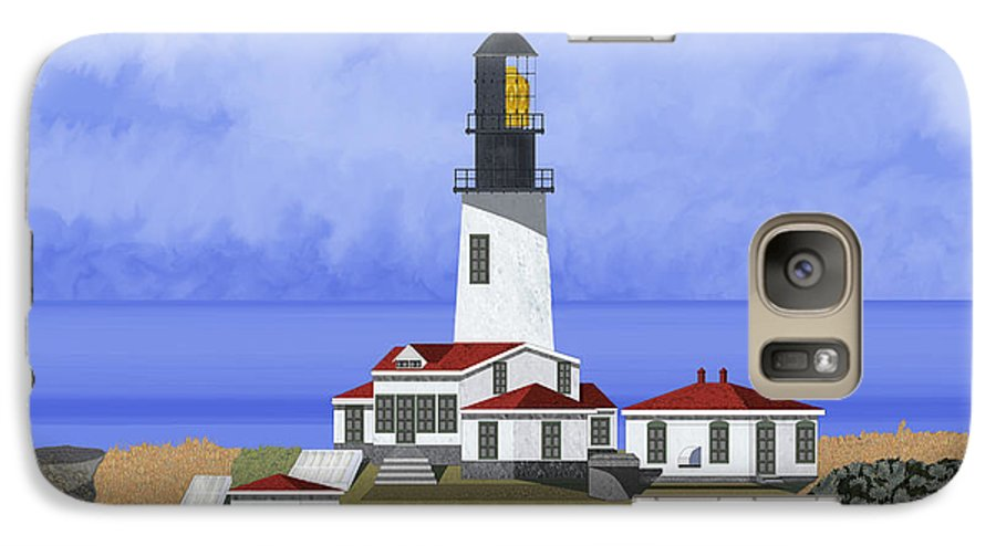 Seascape Galaxy S7 Case featuring the painting Cape Flattery Lighthouse On Tatoosh Island by Anne Norskog