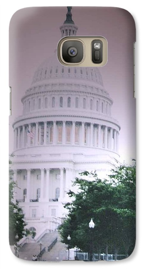 Capitol Galaxy S7 Case featuring the photograph Capitol In Pink by Pharris Art