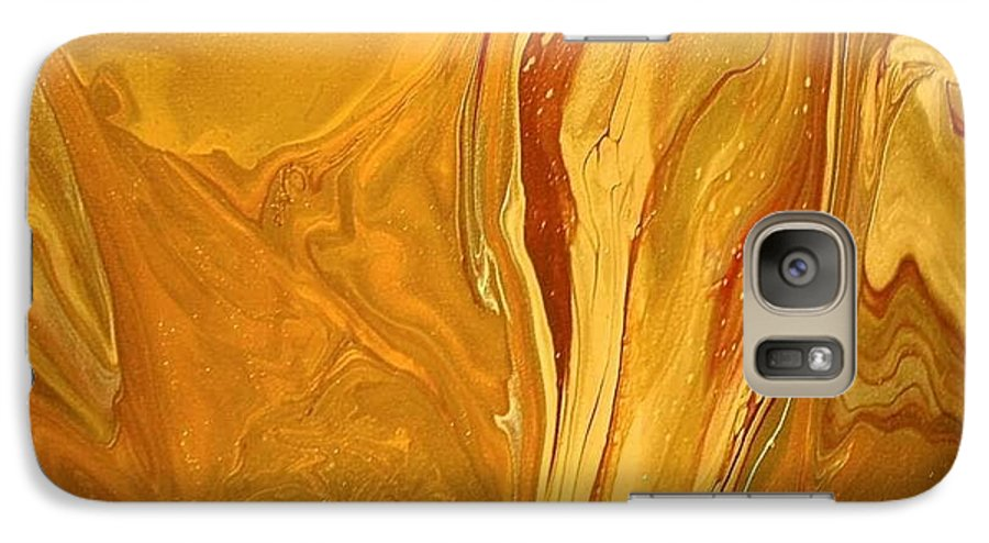 Abstract Galaxy S7 Case featuring the painting Caramel Delight by Patrick Mock
