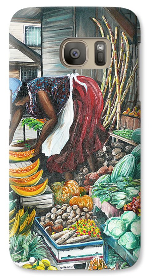 Caribbean Painting Market Vendor Painting Caribbean Market Painting Fruit Painting Vegetable Painting Woman Painting Tropical Painting City Scape Trinidad And Tobago Painting Typical Roadside Market Vendor In Trinidad Galaxy S7 Case featuring the painting Caribbean Market Day by Karin Dawn Kelshall- Best