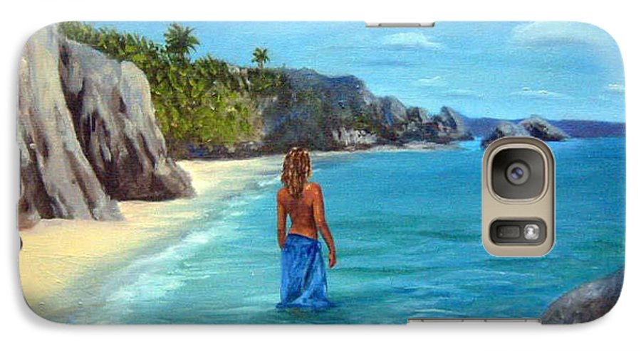 Landscape Galaxy S7 Case featuring the painting Caribean Dreaming by Anne Kushnick