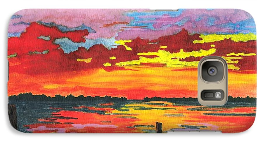 Original Painting Galaxy S7 Case featuring the painting Carolina Sunset by Patricia Griffin Brett