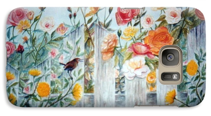 Roses; Flowers; Sc Wren Galaxy S7 Case featuring the painting Carolina Wren And Roses by Ben Kiger