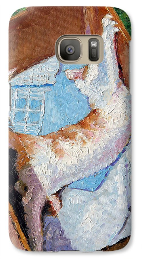 Kitten Galaxy S7 Case featuring the painting Cat In A Box by John Lautermilch