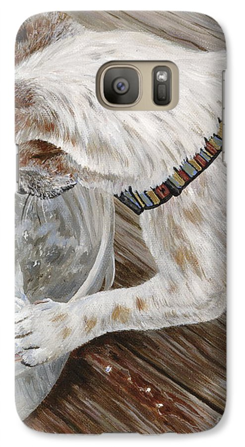 Pet Portrait Galaxy S7 Case featuring the painting Catch Of The Day by Danielle Perry