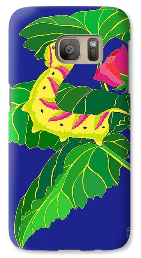 Nature Galaxy S7 Case featuring the drawing Caterpillar by Lucyna A M Green