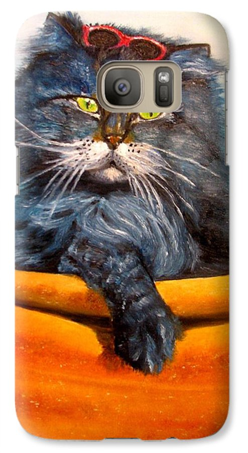 Cat Galaxy S7 Case featuring the painting Cat.go To Swim.original Oil Painting by Natalja Picugina