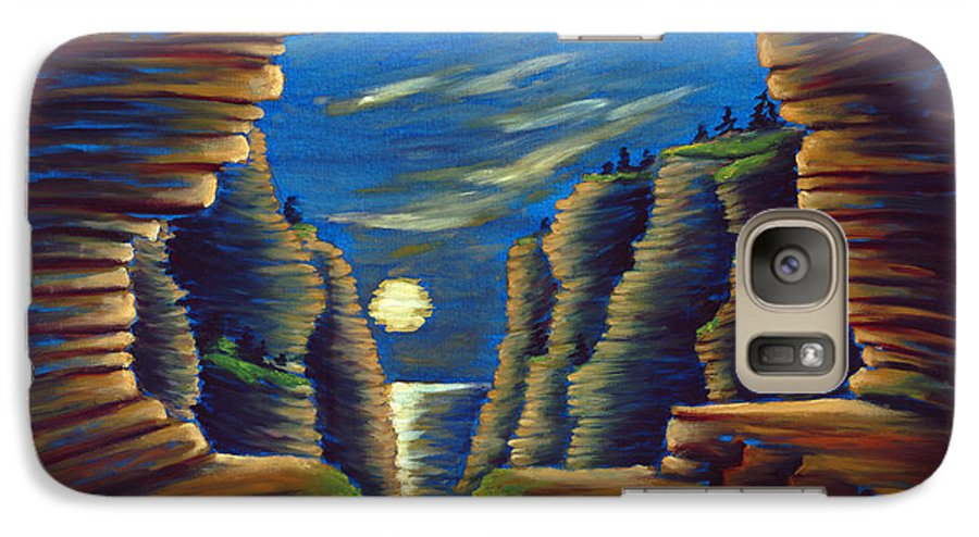 Cave Galaxy S7 Case featuring the painting Cave With Cliffs by Jennifer McDuffie