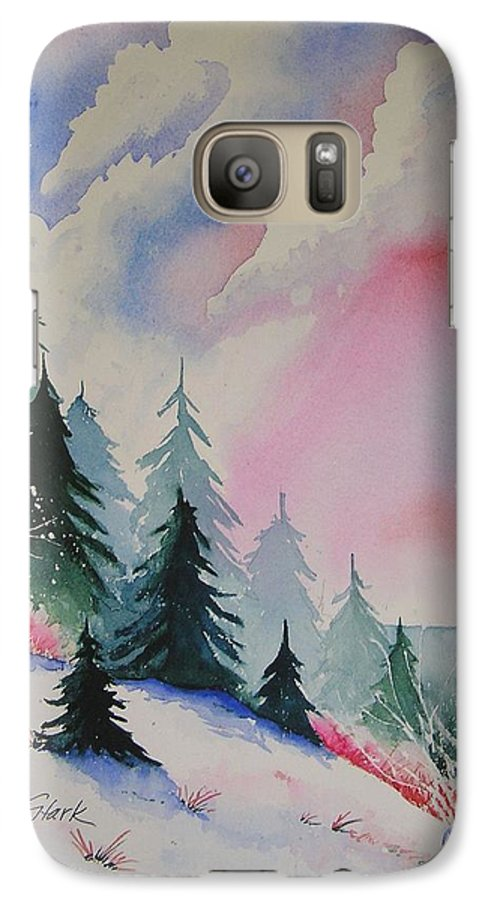 Snow Galaxy S7 Case featuring the painting Cedar Fork Snow by Karen Stark