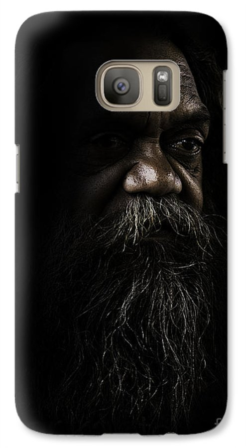 Fullblood Aborigine Galaxy S7 Case featuring the photograph Cedric In Shadows by Avalon Fine Art Photography