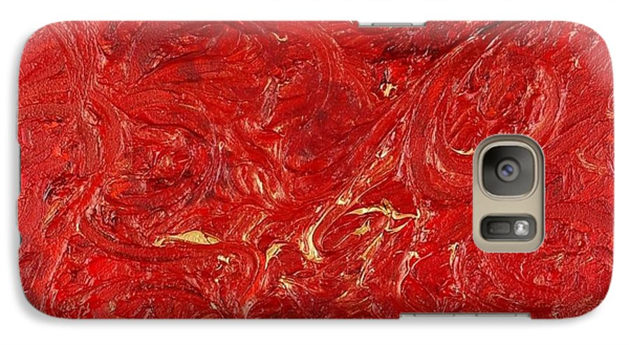 Red Galaxy S7 Case featuring the painting Celebration by Nadine Rippelmeyer