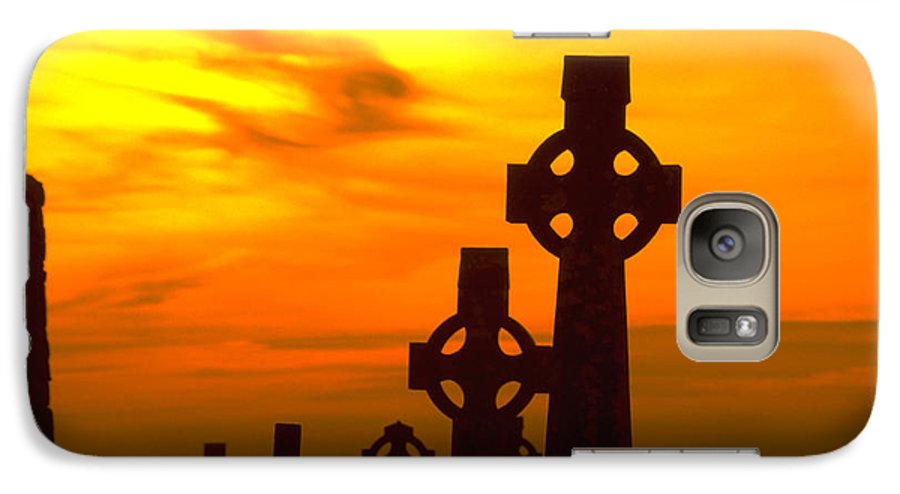 Christian Galaxy S7 Case featuring the photograph Celtic Crosses In Graveyard by Carl Purcell
