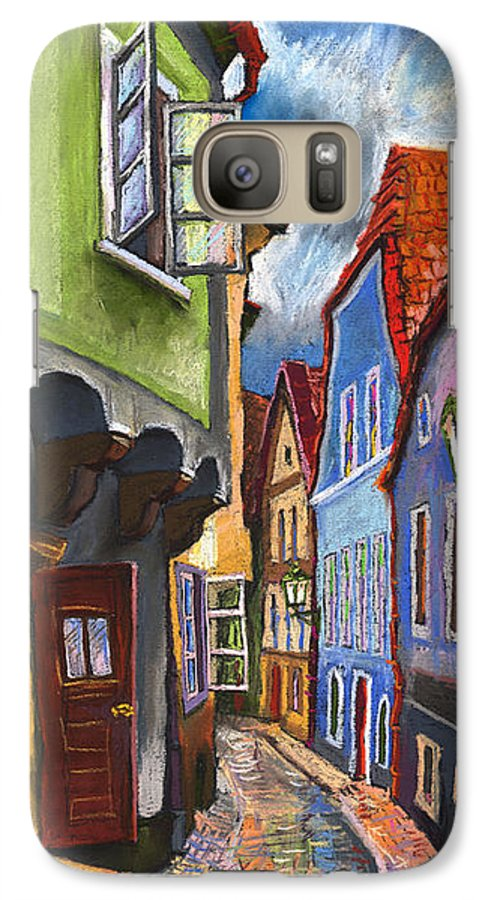 Pastel Chesky Krumlov Old Street Architectur Galaxy S7 Case featuring the painting Cesky Krumlov Old Street 1 by Yuriy Shevchuk
