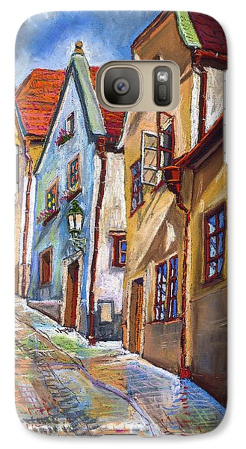 Pastel Chesky Krumlov Old Street Architectur Galaxy S7 Case featuring the painting Cesky Krumlov Old Street 2 by Yuriy Shevchuk