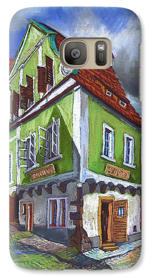 Pastel Chesky Krumlov Old Street Cityscape Realism Architectur Galaxy S7 Case featuring the painting Cesky Krumlov Old Street 3 by Yuriy Shevchuk