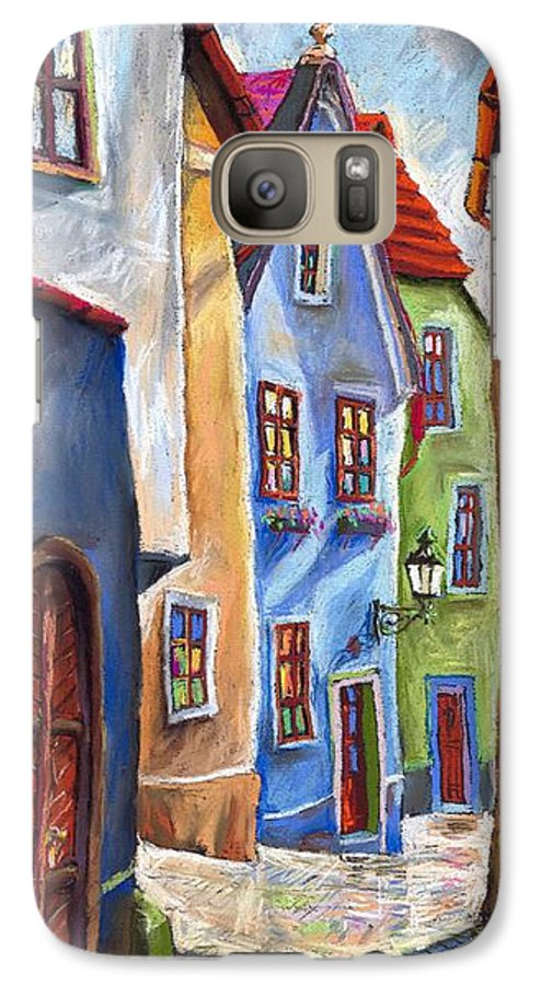 Cityscape Galaxy S7 Case featuring the painting Cesky Krumlov Old Street by Yuriy Shevchuk