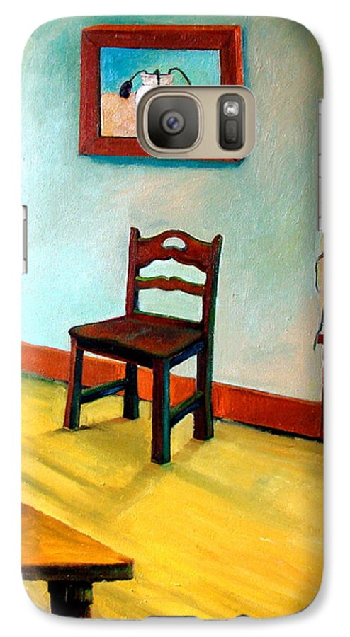 Apartment Galaxy S7 Case featuring the painting Chair And Pears Interior by Michelle Calkins