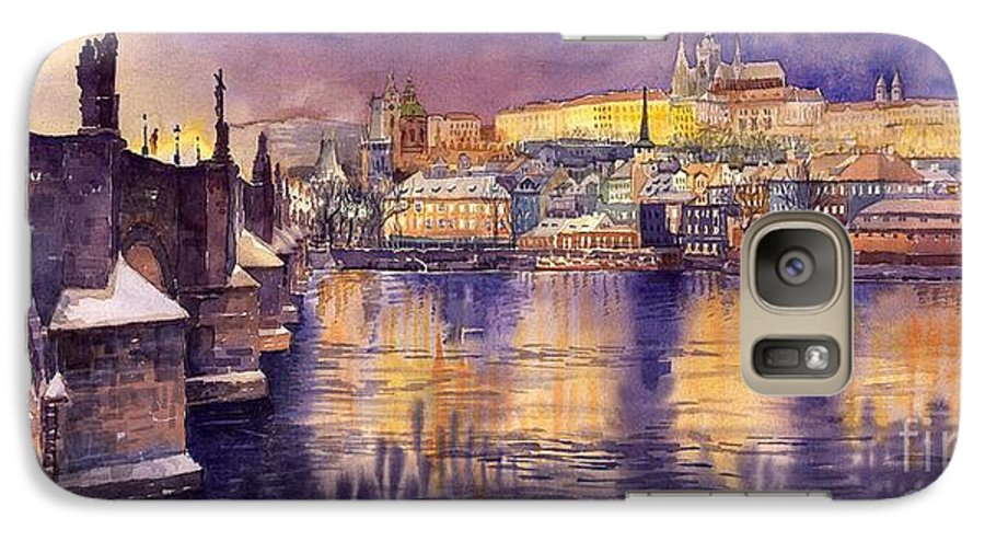 Cityscape Galaxy S7 Case featuring the painting Charles Bridge And Prague Castle With The Vltava River by Yuriy Shevchuk