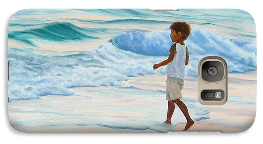 Child Galaxy S7 Case featuring the painting Chasing The Waves by Lea Novak