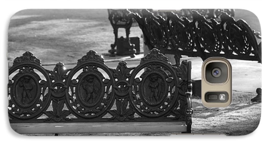 Black And White Galaxy S7 Case featuring the photograph Cherb Benches by Rob Hans