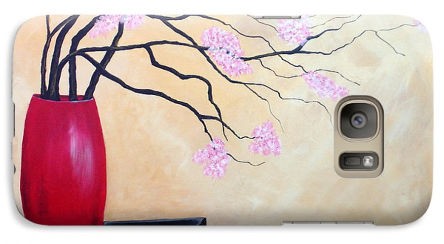 Oriental Galaxy S7 Case featuring the painting Cherry Blossoms by Susan Kubes