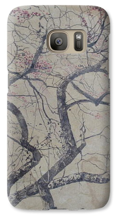 Crab Apple Galaxy S7 Case featuring the painting Prairie Fire by Leah Tomaino