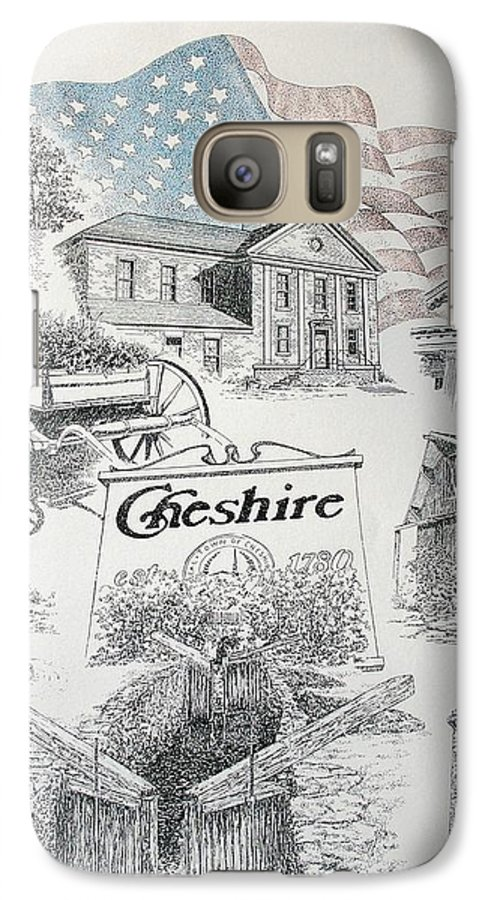 Connecticut Cheshire Ct Historical Poster Architecture Buildings New England Galaxy S7 Case featuring the drawing Cheshire Historical by Tony Ruggiero