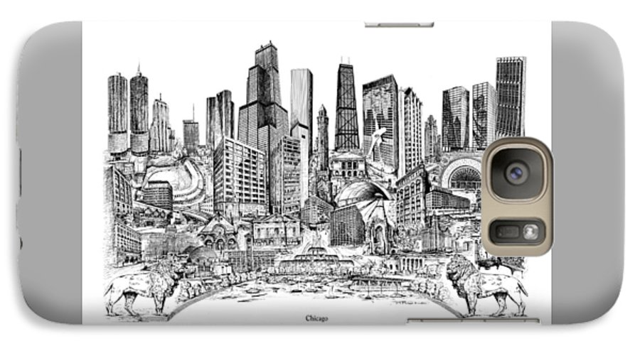 City Drawing Galaxy S7 Case featuring the drawing Chicago by Dennis Bivens