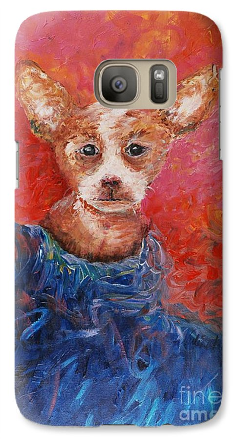 Dog Galaxy S7 Case featuring the painting Chihuahua Blues by Nadine Rippelmeyer