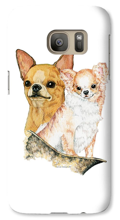 Chihuahua Galaxy S7 Case featuring the drawing Chihuahuas by Kathleen Sepulveda