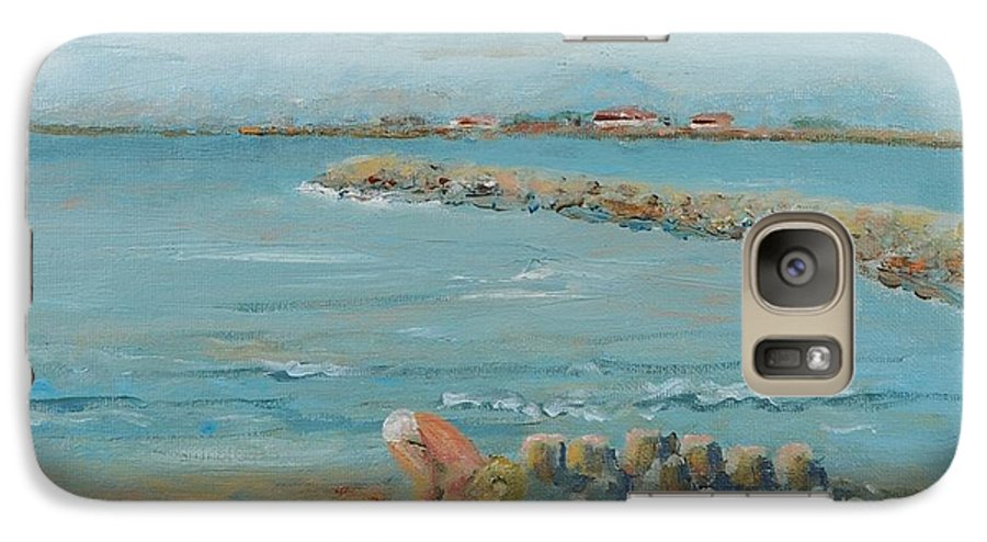 Beach Galaxy S7 Case featuring the painting Child Playing At Provence Beach by Nadine Rippelmeyer