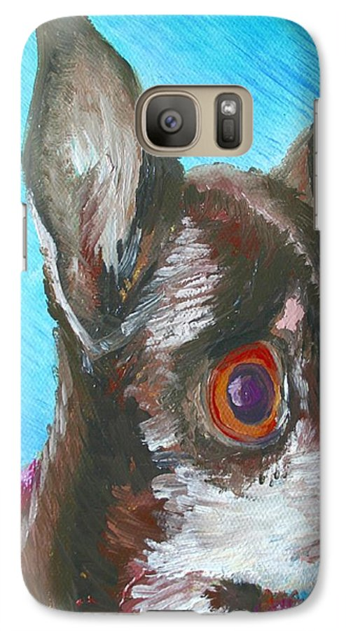 Dog Galaxy S7 Case featuring the painting Chili Chihuahua by Minaz Jantz