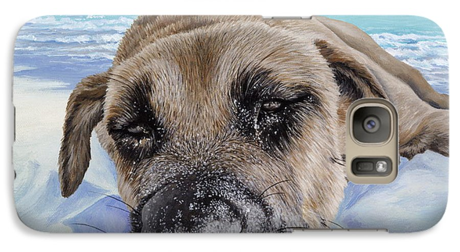 Pet Portrait Galaxy S7 Case featuring the painting Chillin In Briland by Danielle Perry
