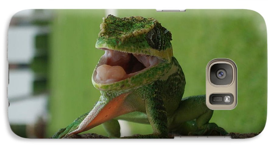 Iguana Galaxy S7 Case featuring the photograph Chilling On Wood by Rob Hans