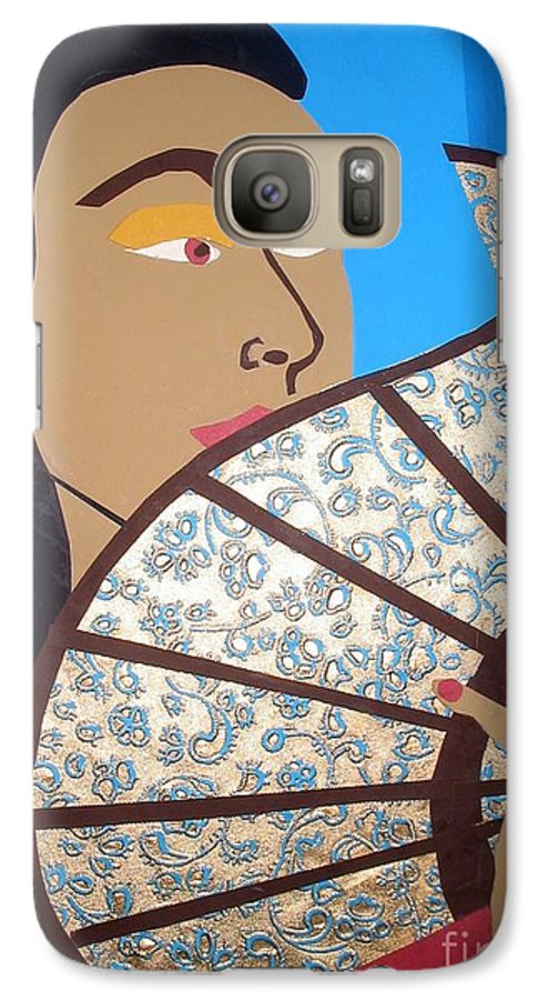 Chinese Galaxy S7 Case featuring the mixed media Chinese Fan by Debra Bretton Robinson
